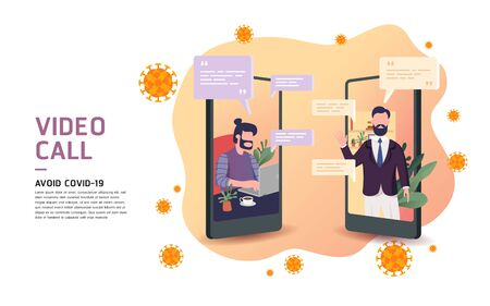 Business man using smart phone video call on phones as to avoid and protect virus. video conference call with character. Creative flat design for web banner.