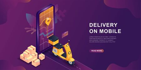 Mobile delivery service online app, vector isometric concept. Online delivery service concept. Smartphone screen with map and gps sign. Shopping online service on scooter or motorbike.