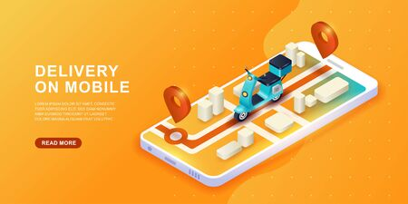 Online delivery service concept. Fast delivery by scooter on mobile. E-commerce concept. Çizim