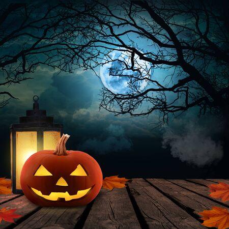 Halloween Pumpkins On Wood At Night