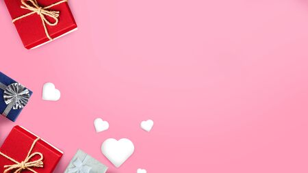 Valentine's Day background. Gifts, candle, confetti, envelope on pastel pink hearts background. Foto de archivo - 138471505