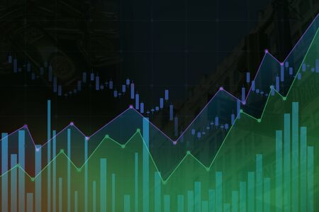 Stock market or forex trading candlestick graph,Abstract Business chart with uptrend line Green , Green line chart currency. Stock fotó