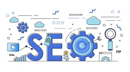 Seo vector Outline and color banner. with line icon. business infographics elements.