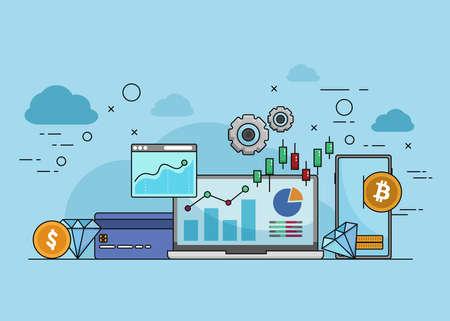 Financial Technology,Fin-Tech concept vector, financial technology landing page vector template
