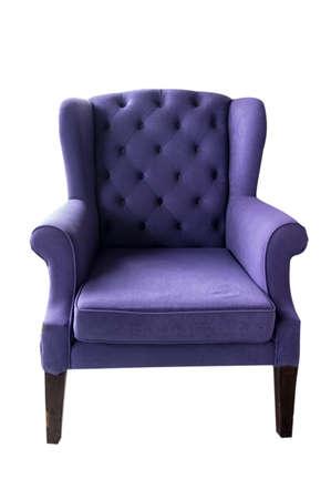 antique chair: Old luxurious purple sofa on white  Stock Photo