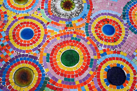 A colorful mosaic wall in a public temple  photo