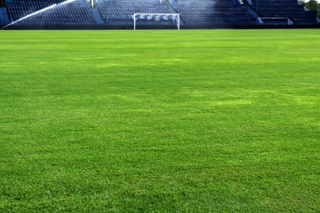 A soccer grass field is watered in the evening