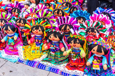 Local Mexican dolls with colorful colors sold throughout Mexico City