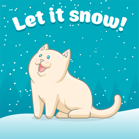 Let it snow on blue background.