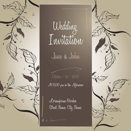 Handmade Wedding Invitation Card Template Design Floral with Leaves