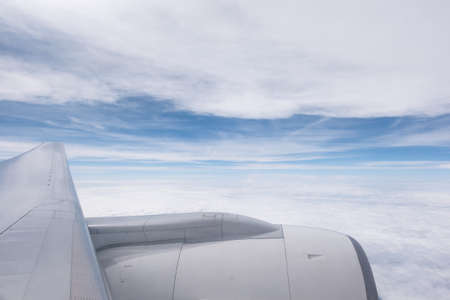 turbofan: Could and sky with Turbofan from Windows of an Aircraft