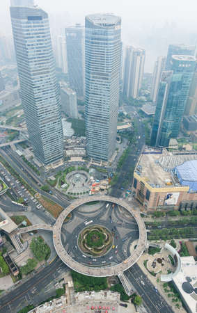 oriental pearl tower: Aerial view of shanghai lujiazui financial center from The Oriental Pearl Tower - Mingzhu Roundabout