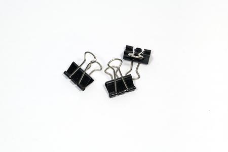 binder clip: Black Paper clip (Binder clip) on white background