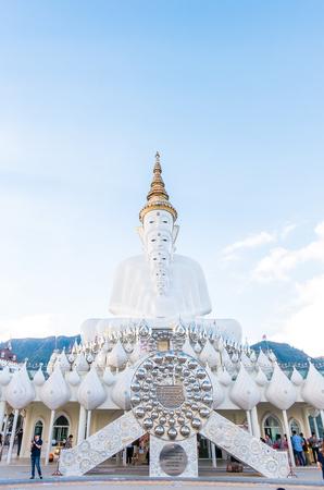 Phetchabun,Thailand - December 25,2016 : the big white five buddha statue at wat phra thart pha son kaew in Khao Kho