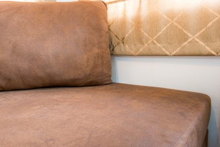 living room furniture: Brown Sofa Furniture - Modern Living room interior Background Stock Photo