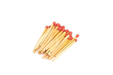 Pile of new wooden match sticks isolated on white background