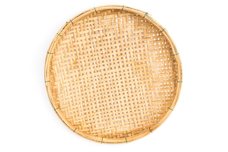 Wooden threshing basket (bamboo) isolated on white background Foto de archivo
