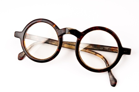 objected: The old glasses on white background in studio  Stock Photo