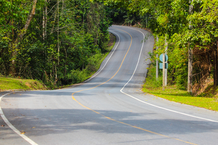 Road to Haew Suwat Waterfall in Khao Yai Forest Thailland. Stock Photo