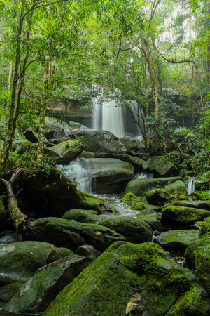 Tum Yai Waterfall at Phu Kradueng National Park, Loei, Thailand. Stock Photo