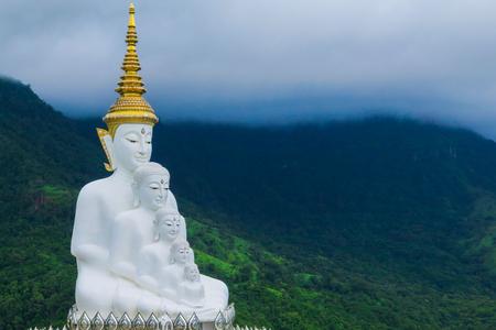 Five Buddhas at Wat Phra Thad Pha Son Kaew Temple, Phetchabun, Thailand. Stock Photo