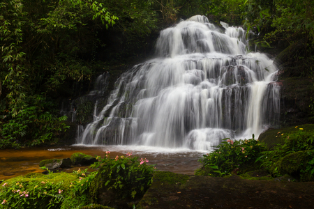 Mundaeng Waterfall at Phu Hin Rong Kla, Phitsanulok, Thailand. Stock Photo