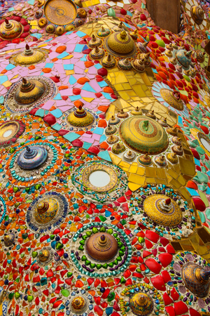 Ceramic wall at Wat Pha Son Kaew, Phetchabun, Thailand. Stock Photo