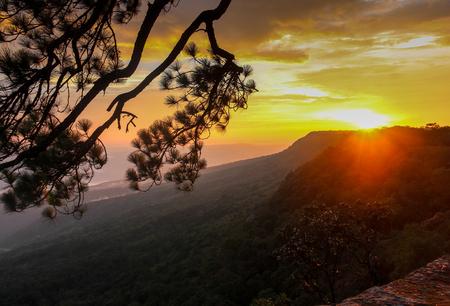 Sunset at Pha Mark Dook, Phu Kradueng National Park, Loei, Thailand. Stock Photo
