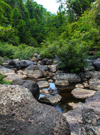 Stream and rock of Haew Suwat Waterfall in Khao Yai Forest Thailand. Stock Photo
