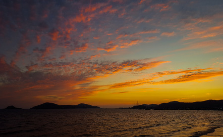 Sunset at Ao Dong Tan, Sattahip, Chon buri, Thailand. Stock Photo