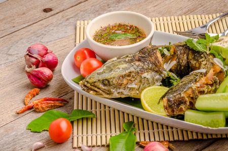Thai Fried fish with chilli spicy.