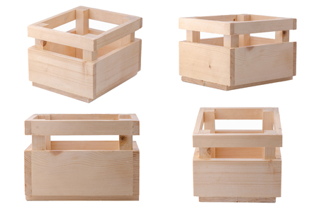 Collection Wooden box for flowers isolated over white with clipping path.