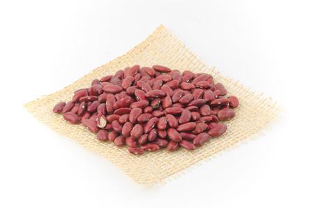 azuki beans isolated on white background. (bean, red, azuki)