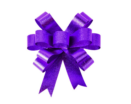 Violet gift bow. Ribbon. Isolated on white background.
