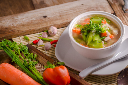 Luffa and carrots Soup , Thai Food.
