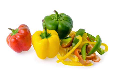 Fresh sweet pepper isolated on white background.