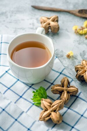 Peanut Tea Sacha on the table For morning health. Stockfoto
