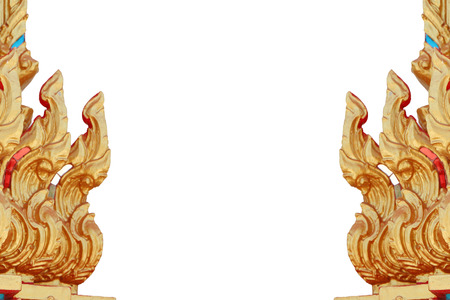 Traditional Thai style pattern decorative isolated on white background, stucco gold paint in temple,Thailand  photo