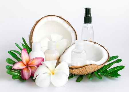Coconut for spa setting .wellness & spa alternative treatment isolated on white background