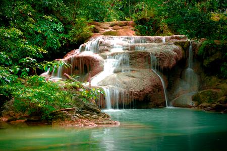 waterscape: Erawan waterfall in Thailand in deep forest