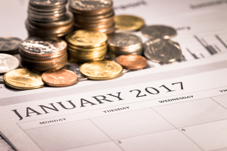 busines: Saving money on anniversary 2017 new year day,busines concept