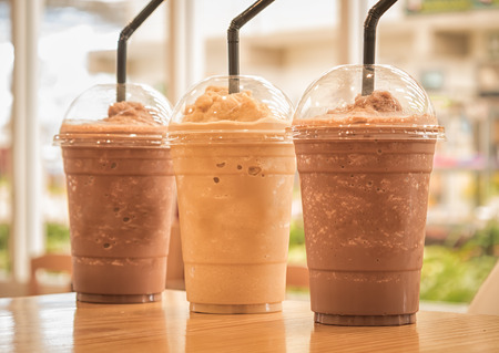 Chocolate Frappe and Frappuccino on wood table