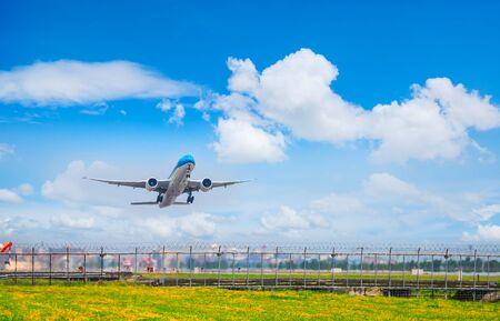 Suvarnabhumi Airport, THAILAND - MARCH 18: Landing airplane at Suvarnabhumi international airport on 18 March, 2018.Business airline concept.