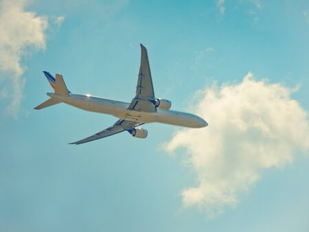 Suvarnabhumi Airport, THAILAND - MARCH 18: Landing air france airplane at Suvarnabhumi international airport on 18 March, 2018.Business airline concept.