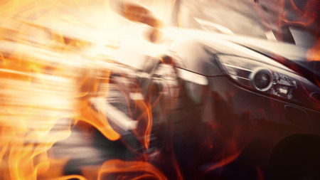 Blurred Of Image Car Drift On Fire Track Radial Blurred Effect Sport