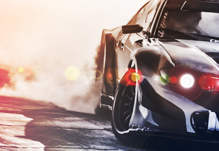 Blurred sport car drifting on speed track. Sport car wheel drifting and smoking with flare effect on track. Sport concept,drifting car concept. Stock fotó - 98681472