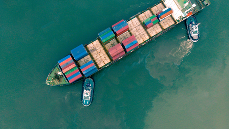Top view from drone.Container ship in import export and business logistic, International transportation, Business logistics concept.