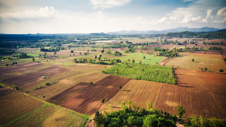 Aerial view of preparation for sugar cane plantation, which is the economic crop of Thailand.Agricultural industrial