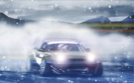 Car drifting, Blurred of image diffusion race drift car with lots of smoke from burning tires on speed track with bokeh light. Archivio Fotografico