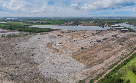 Aerial view, landfill and waste disposal center Stock Photo